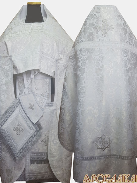 АКЦИЯ. АРТ1354. Риза белая с серебром парча Глаксиния.