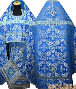 АРТ141. Риза голубая с серебром парча Курский, отделка цветной галун (голубой с серебром).