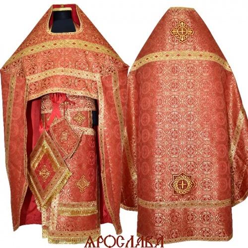 АРТ1492. Риза красный шелк Коринф, отделка цветной галун (красный с золотом).