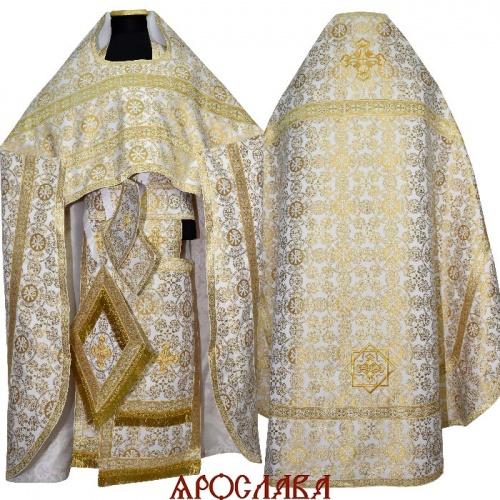 АРТ1561.Риза белая с золотом шелк Севастьяновский, отделка цветной галун (белый с золотом)