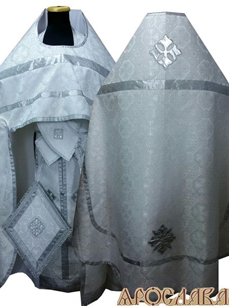 АРТ214. Риза белый с серебром шелк Покров, простая отделка (цвет серебро).