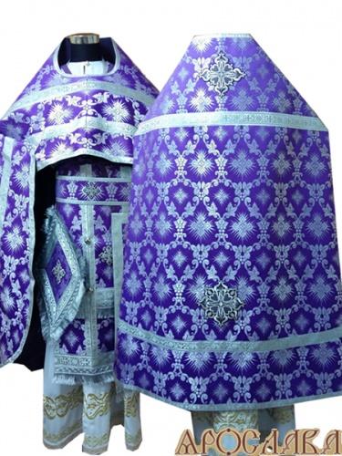 АРТ255. Риза фиолетовая с серебром шелк Терновый венец, обыденная отделка (цвет серебро).