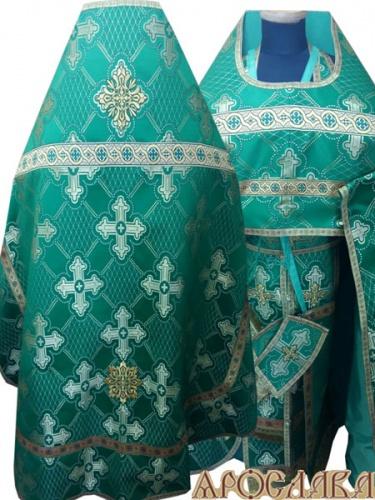 АРТ267. Риза зеленая шелк Подольский, отделка цветной галун (зеленый с золотом).